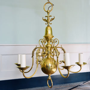 A brass six branch chandelier-0