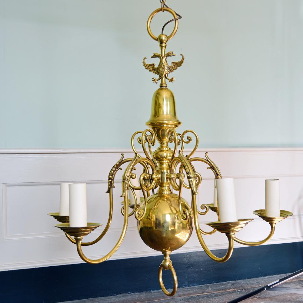 A brass six branch chandelier-0
