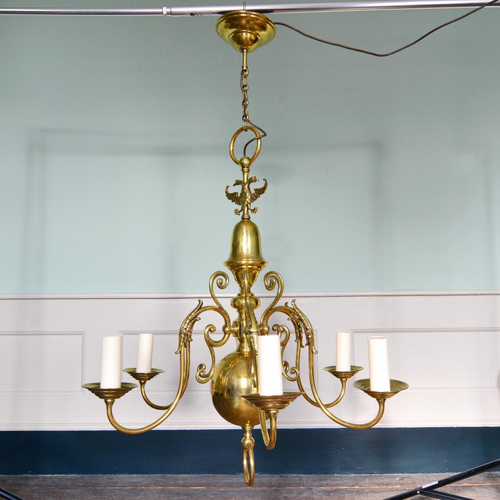 A brass six branch chandelier-80513