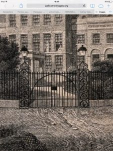 Detail of Varrell engraving showing Anthemia gateposts