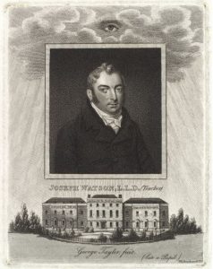 """Joseph Watson, head of the Asylum for many years & Author of """"Instruction for the Deaf and Dumb"""" in 1809"""