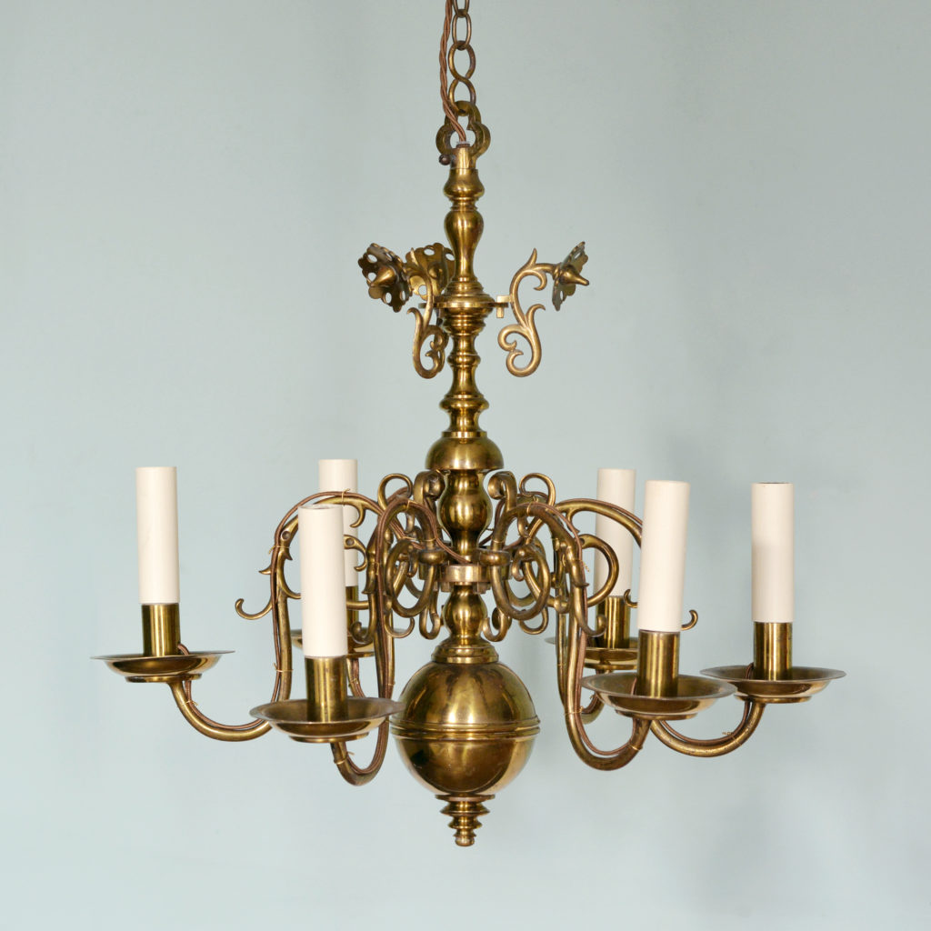 A Dutch style brass chandelier-0