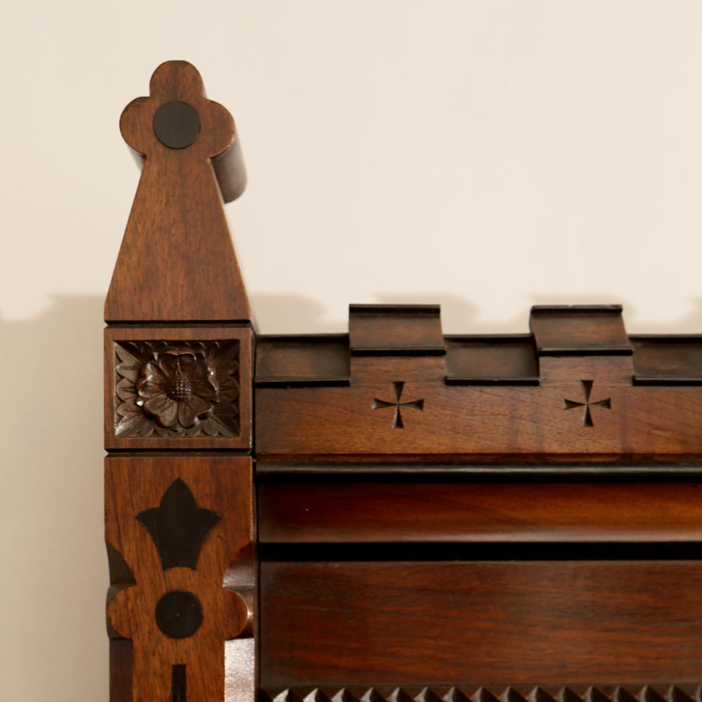 An imposing Reformed Gothic oak, walnut, ebonized and marquetry sideboard, -82540