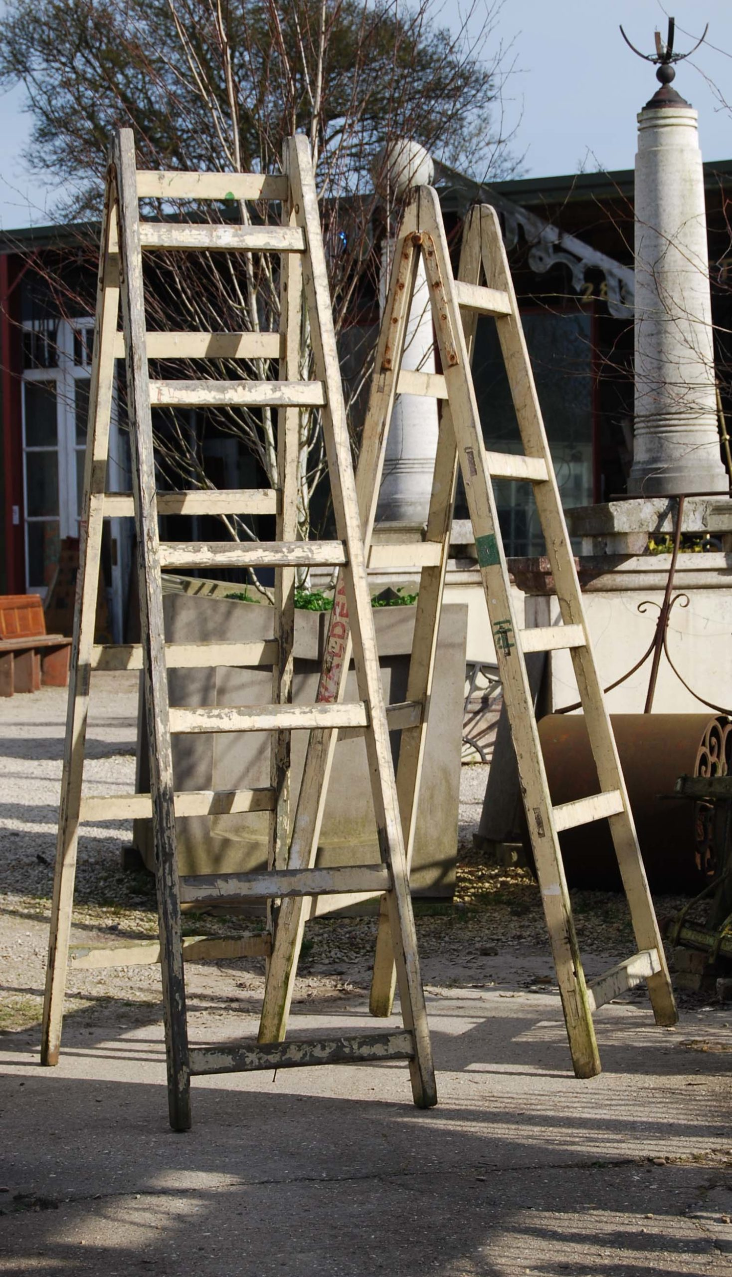 A painted pine tradesman's trestle-0