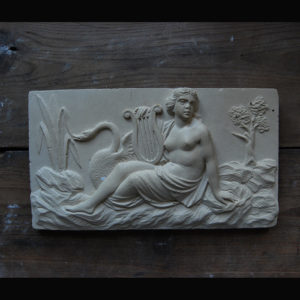 An English relief-cast tablet of Leda and the Swan,-0