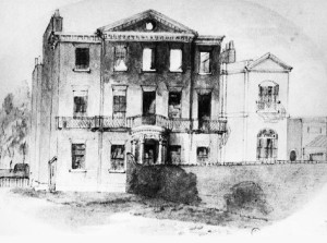 Early 19th Century watercolour of Brunswick House, post cataclysmic fire, showing railings in situ.