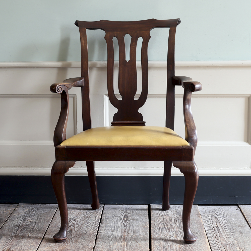 A George III style mahogany elbow chair-0