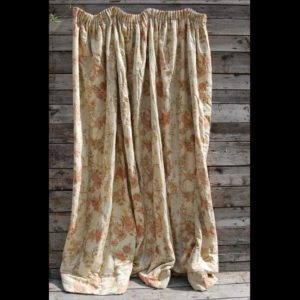 A pair of English linen-cotton mix floral curtains,-0