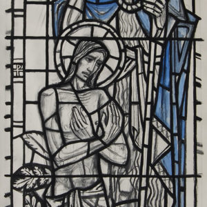 """Behold the lamb of god"" by William Wilson, a cartoon for a stained glass window,"
