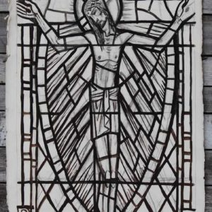 Jesus on the cross by William Wilson, a cartoon for a stained glass window,