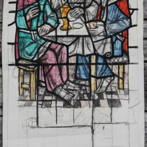 Jesus seated with two disciples by William Wilson, a cartoon for a stained glass window,