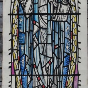 """I am the resurrection and the life"" by William Wilson, a cartoon for a stained glass window,"