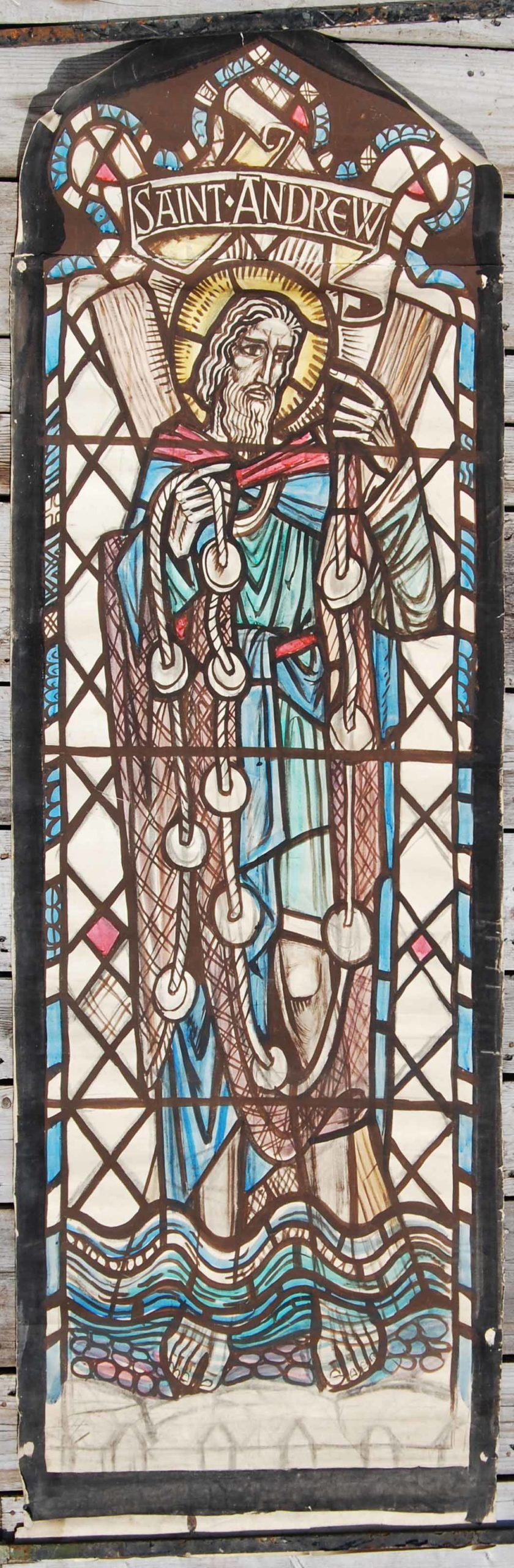 """""""saint Andrew"""" by William Wilson, a cartoon for a stained glass window,"""