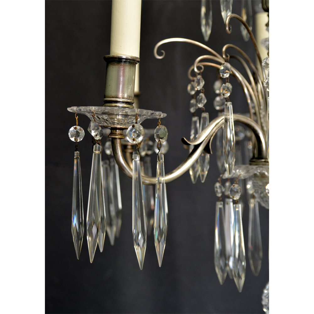 Six light glass and metal chandelier,-83979