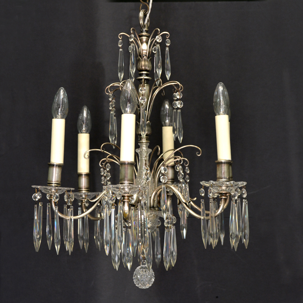 Six light glass and metal chandelier,-0