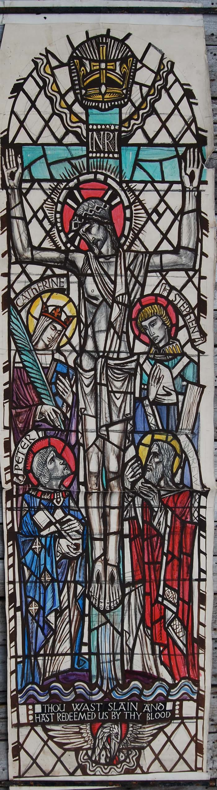 Jesus with four saints by william Wilson, a cartoon for a stained glass window,