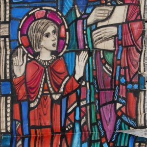 A figural scene featuring a holy child by william Wilson, a cartoon for a stained glass window,