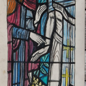"""Raboni"", by William Wilson, a cartoon for a stained glass window,"