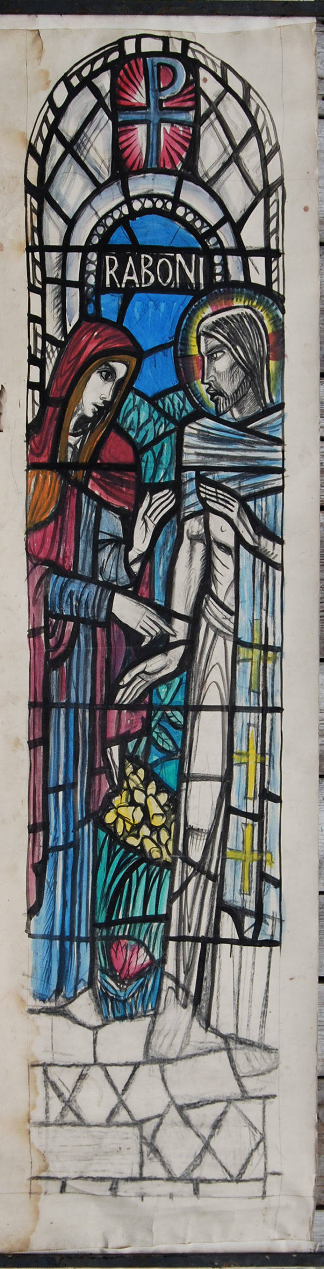 """""""Raboni"""", by William Wilson, a cartoon for a stained glass window,"""