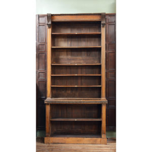 A set of four early Victorian oak, deal and bronze library bookcases,-0