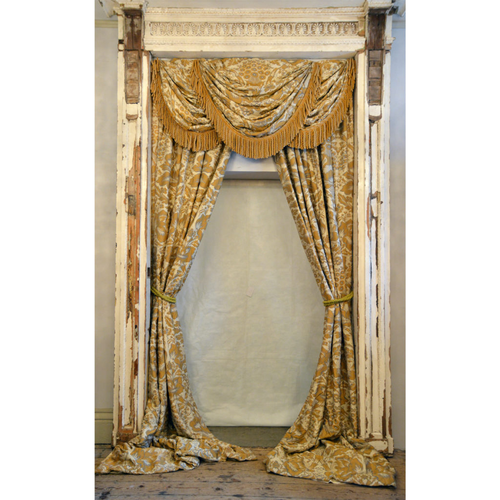 A suite of silk twill damask curtains,-84234