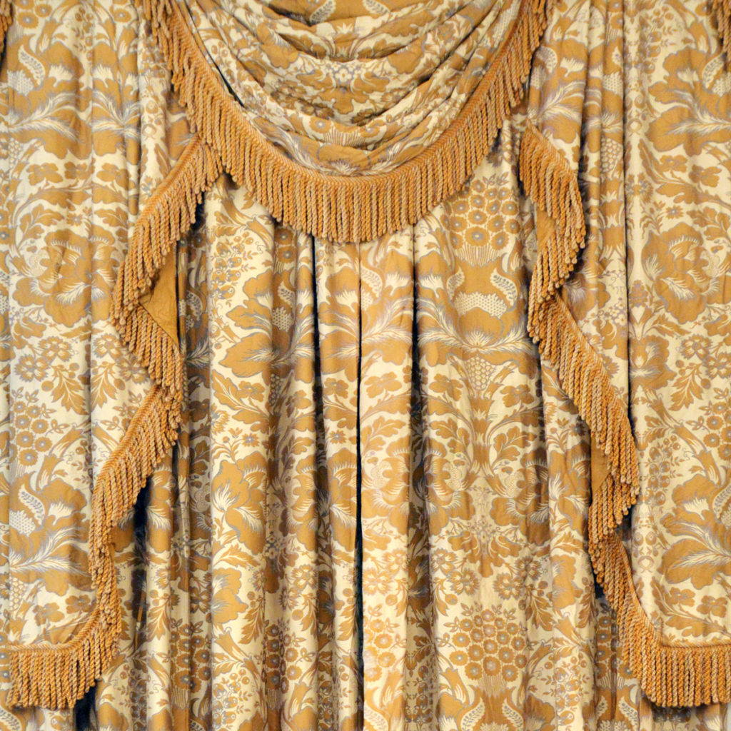 A suite of silk twill damask curtains,-0