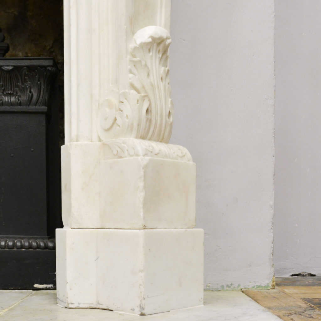 A large English Rococo Revival White Carrara marble chimneypiece,-87101