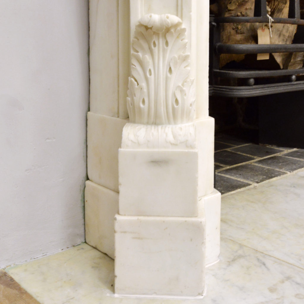 A large English Rococo Revival White Carrara marble chimneypiece,-87107