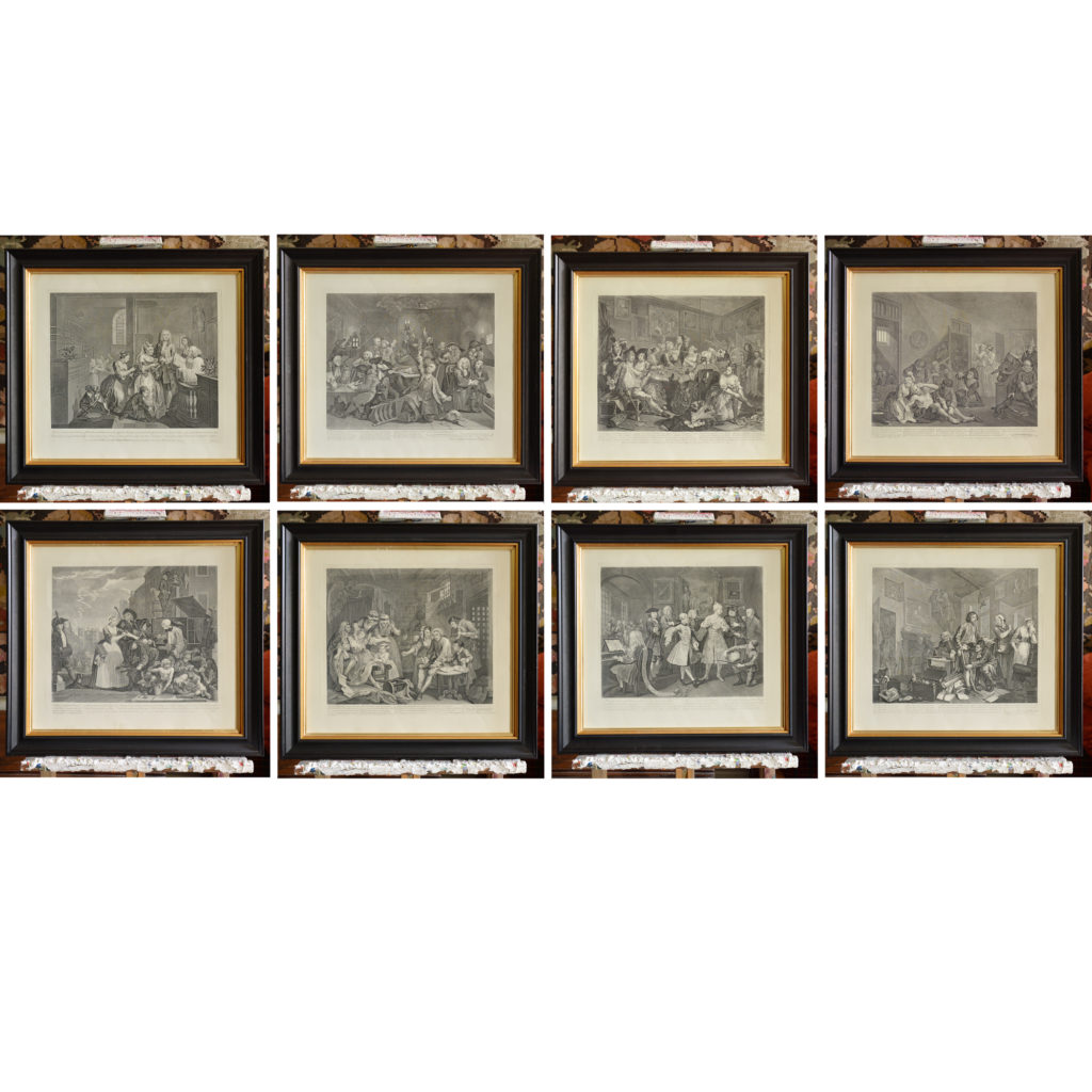 The Rakes Progress by William Hogarth (1697-1764). A set of eight copper-engraved prints-0