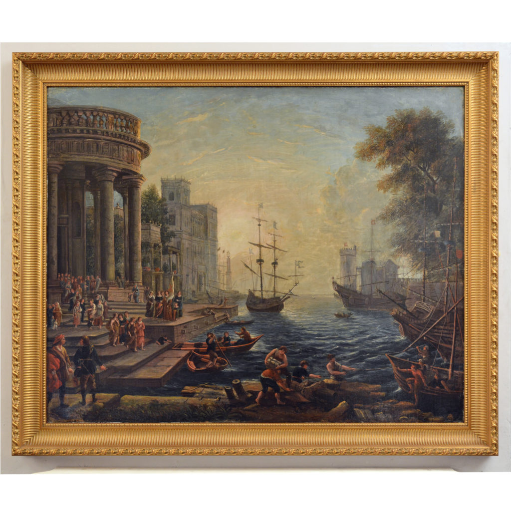 Seaport with the Embarkation of Saint Ursula. Oil on Canvas