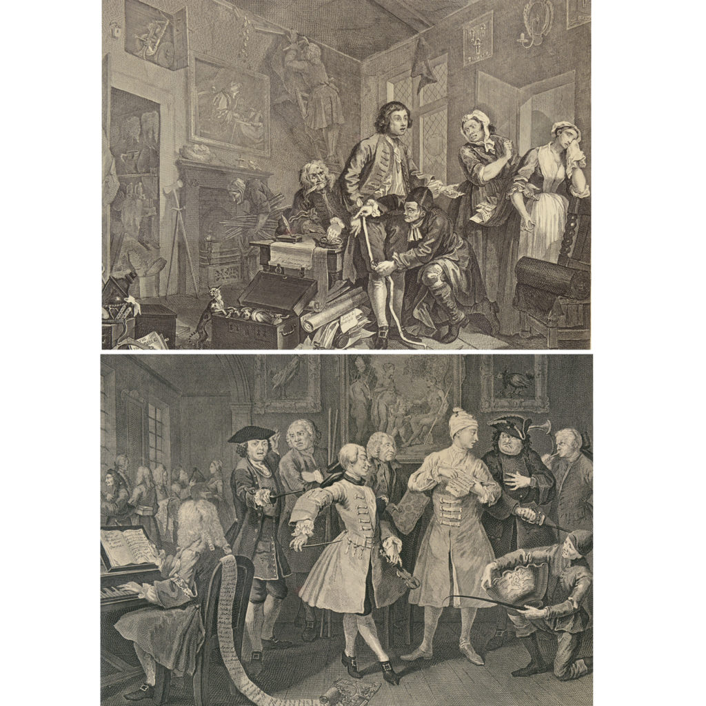 The Rakes Progress by William Hogarth (1697-1764). A set of eight copper-engraved prints-85010
