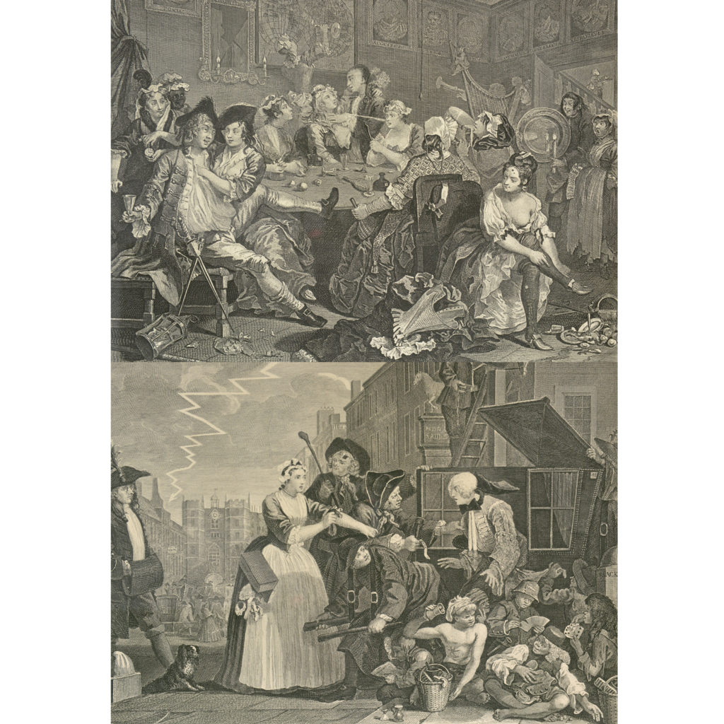 The Rakes Progress by William Hogarth (1697-1764). A set of eight copper-engraved prints-85012