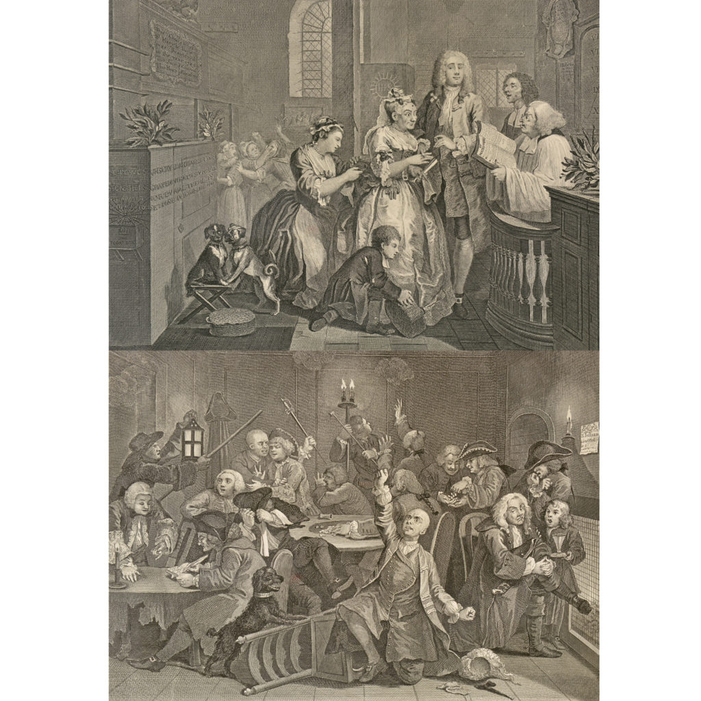 The Rakes Progress by William Hogarth (1697-1764). A set of eight copper-engraved prints-85013