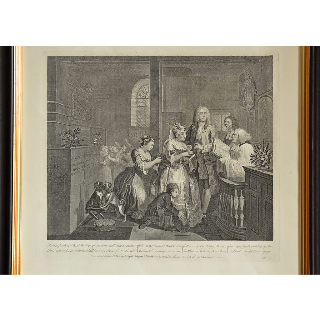 The Rakes Progress by William Hogarth (1697-1764). A set of eight copper-engraved prints-85011