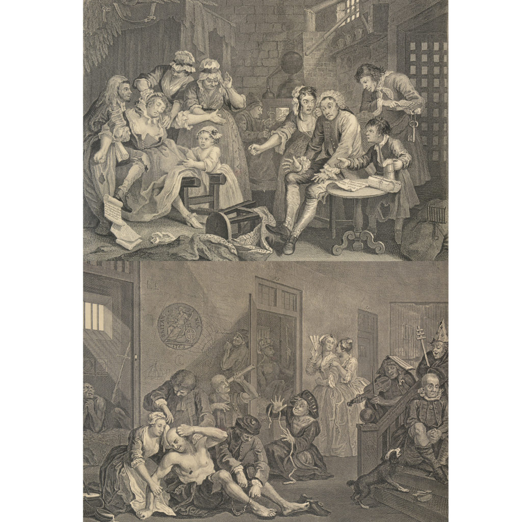 The Rakes Progress by William Hogarth (1697-1764). A set of eight copper-engraved prints-85014