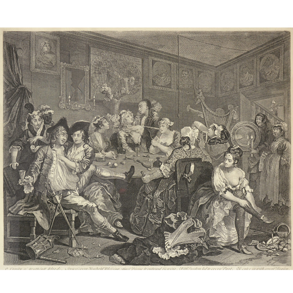 The Rakes Progress by William Hogarth (1697-1764). A set of eight copper-engraved prints-85016