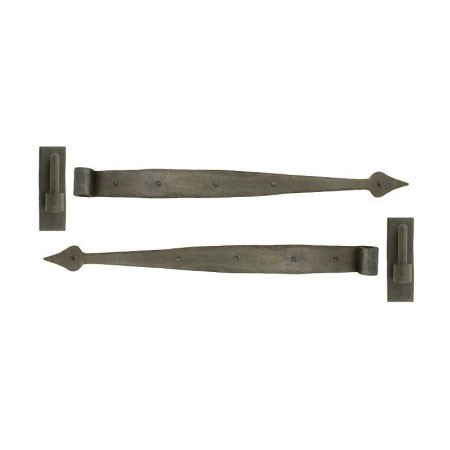 A pair of wrought iron barn door hook and band hinges-0