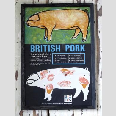A framed British Pork poster