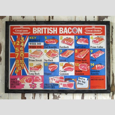 A framed British bacon meat poster