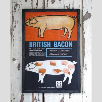 A framed British bacon poster