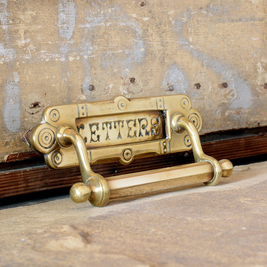 Brass letterplate with door pull