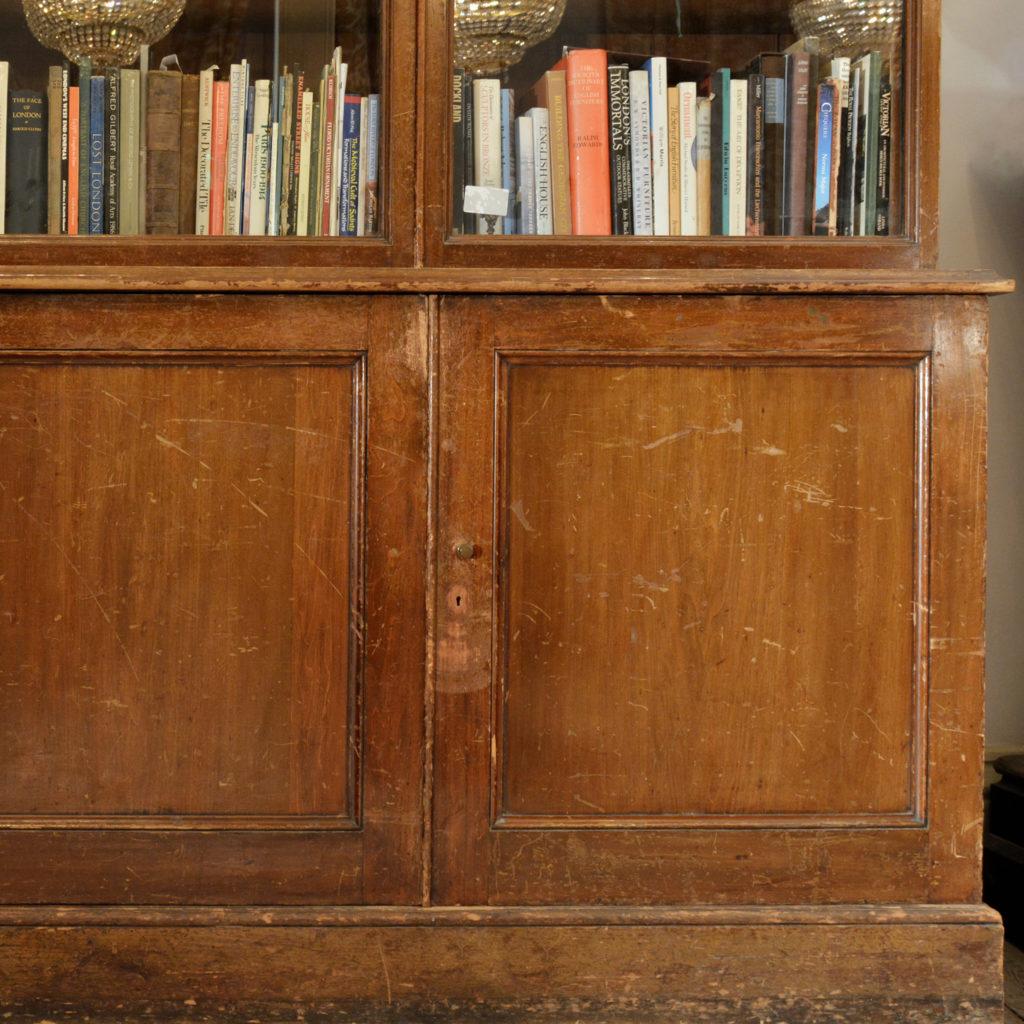 A large poplar and glazed bookcase,-85455