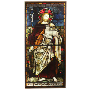 A Stained and painted glass window depicting the Good Shepherd -0