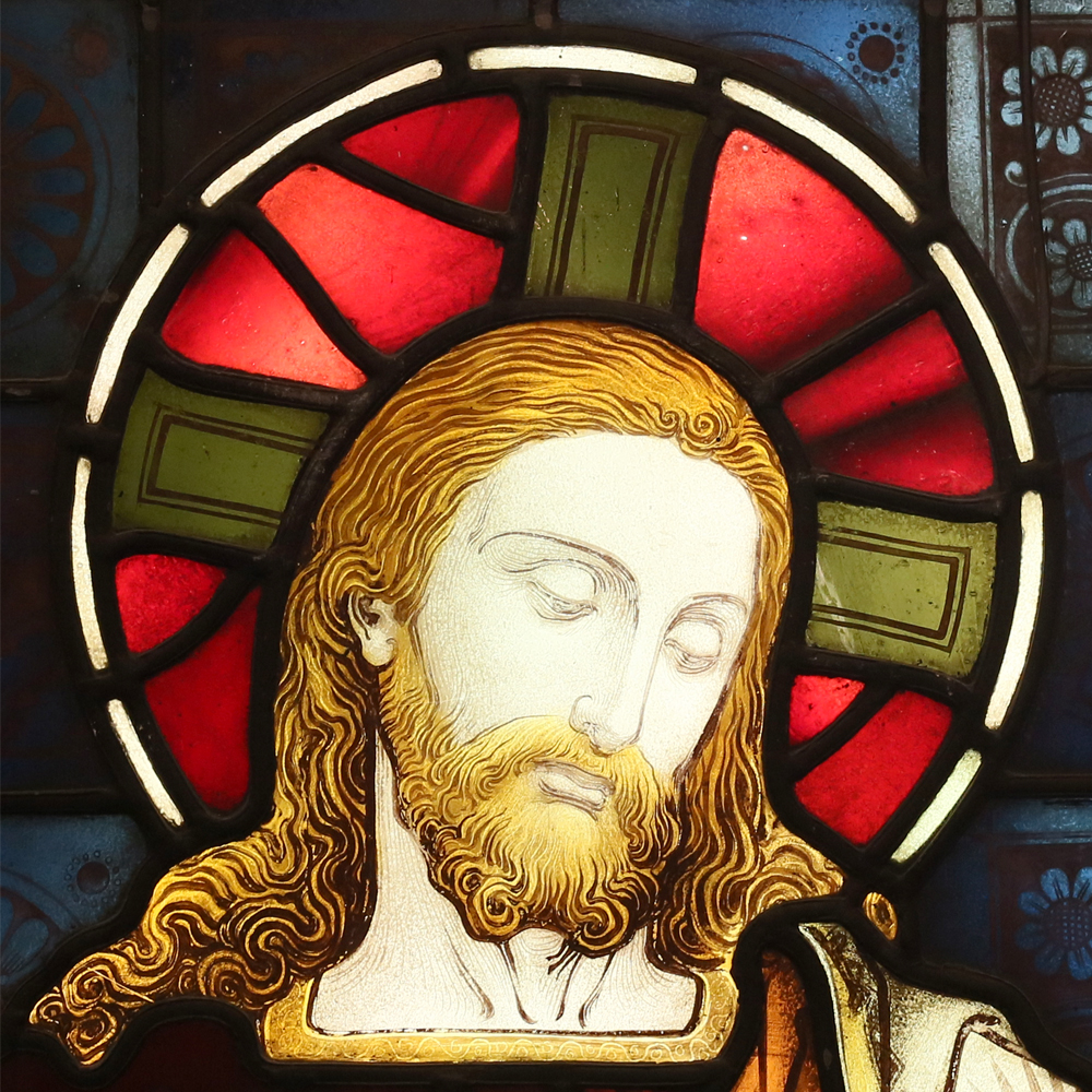 A Stained and painted glass window depicting the Good Shepherd -85093