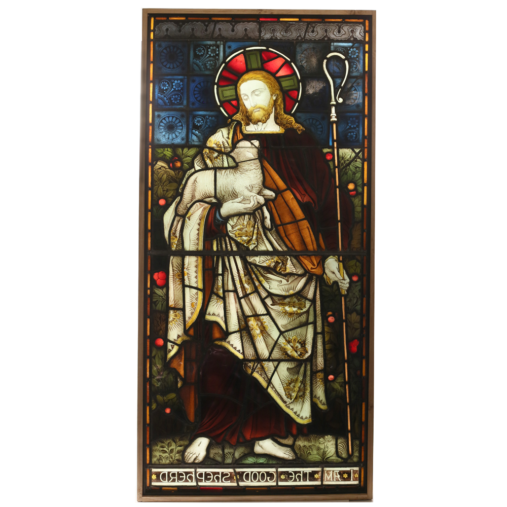 A Stained and painted glass window depicting the Good Shepherd -85090