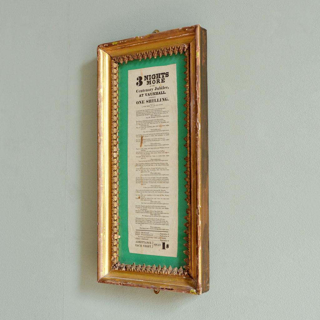 A framed handbill for Vauxhall Gardens Centenary Jubilee,-94816