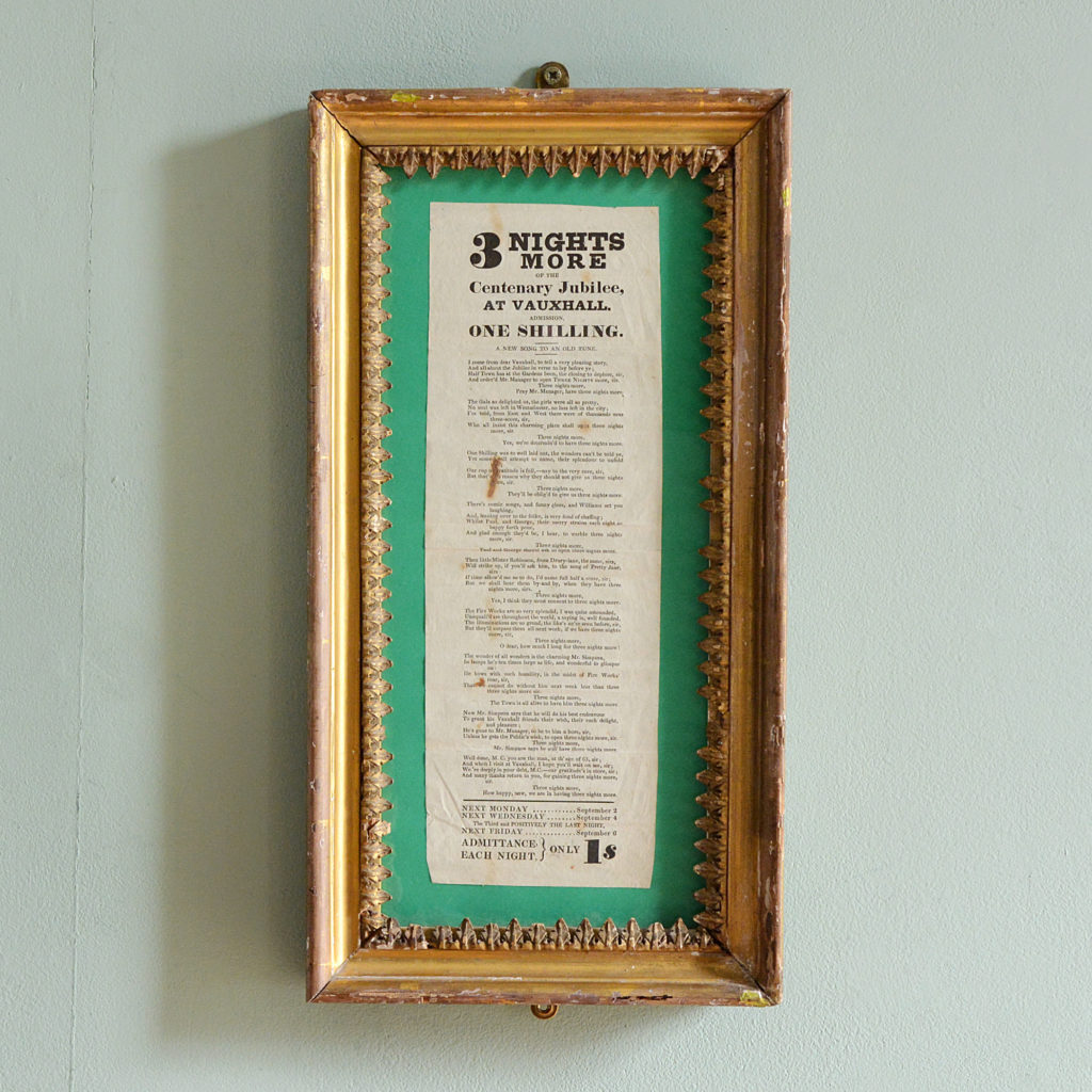 A framed song sheet for Vauxhall Gardens Centenary Jubilee