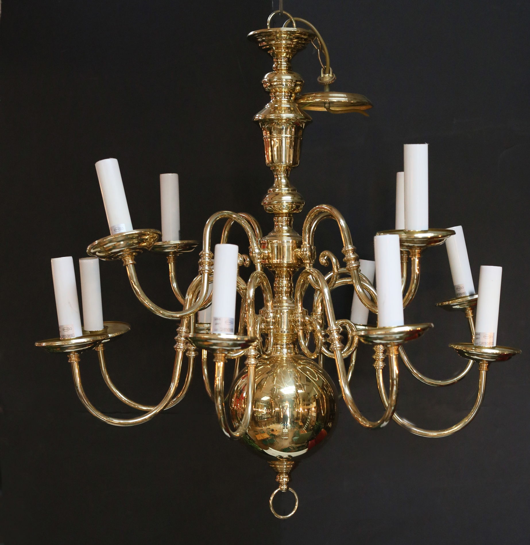 A large two tier Dutch style brass chandelier,-0