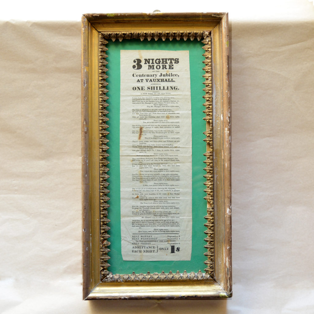 A framed handbill for Vauxhall Gardens Centenary Jubilee,-85867