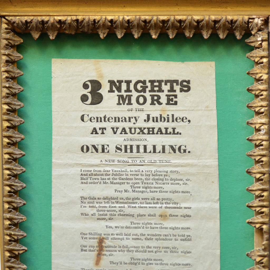 A framed handbill for Vauxhall Gardens Centenary Jubilee,-85869